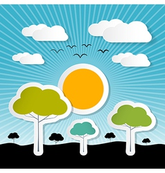 Paper Nature Background with Trees Clouds and Sun vector image