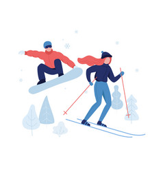 people skiing and snowboarding in winter park rest vector image
