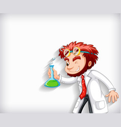 plain background with mad scientist holding vector image