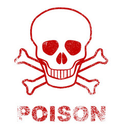 Poison red ink stamp vector