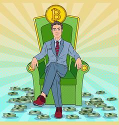 Pop art businessman sitting on throne with bitcoin vector