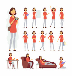 Pretty woman - cartoon people character set vector
