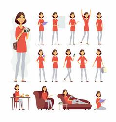 Pretty woman - cartoon people character set vector
