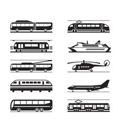 Public transportation icon set vector image