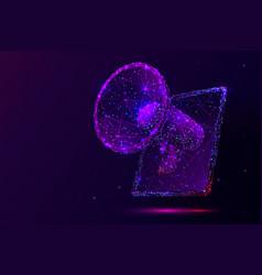 Purple digital marketing low poly wireframe vector