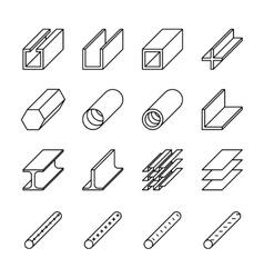 Rolled metal product icons pictograms vector
