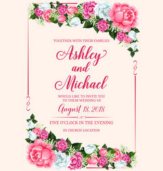 Rose flower frame for wedding invitation design vector