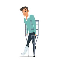 Sad man with broken leg flat vector