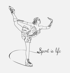 scetch figure skater vector image