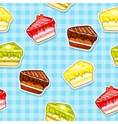 Seamless pattern with colorful cake stickers vector image