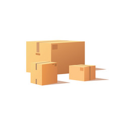 set boxes with adhesive tape rectangular square vector image