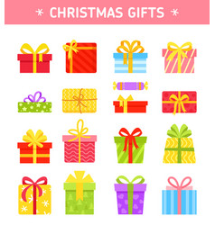 set colorful wrapped gift boxes vector image