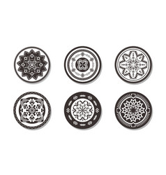 set ethnic round rugs with geometric ornament vector image