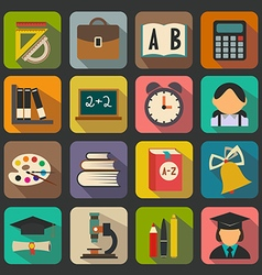 set flat school icons on a color background vector image