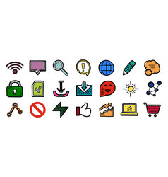 set hand drawn color web internet icons wifi vector image