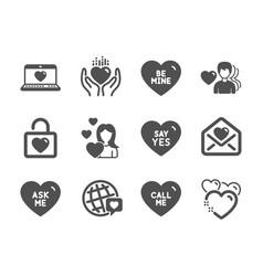Set love icons such as be mine wedding locker vector