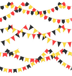 set of garland with celebration flags chain black vector image