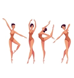 Set of young beautiful dancers in tights and vector image
