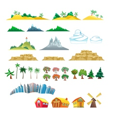 Set trees mountains hills islands and buildings vector