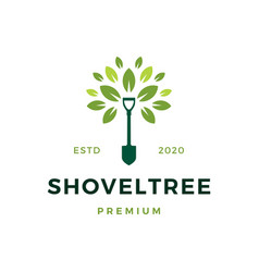 shovel tree sprout garden leaf logo icon vector image