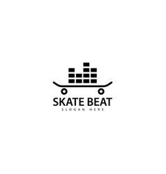 Skateboard beat logo design icon vector