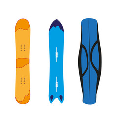 Snowboarding equipment set flat isolated vector