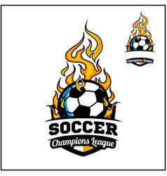 Soccer ball flame badge vector