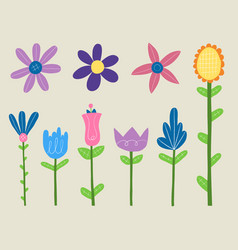 Spring flowers clipart set vector