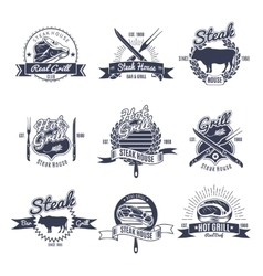 Steak House Emblems Set vector