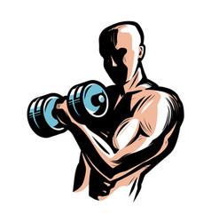 Strong athletic man raises heavy dumbbells vector