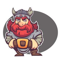 strong hero image fantasy dwarf or viking vector image
