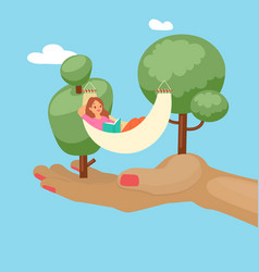 summer relax trees girl in hammock in nature vector image