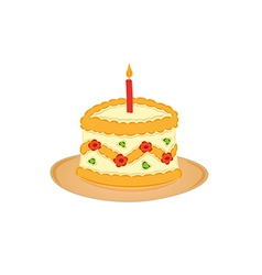 Sweet cake and one burning candle vector
