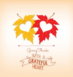 Thankgiving with hearts greeting card vector