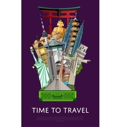 Time to travel banner with famous attractions vector