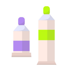 Two paints bottles set flacons banner vector