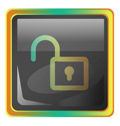 Unlock grey icon with colorful details on white vector