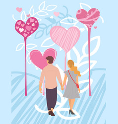 Valentine card with couple and hearts love vector
