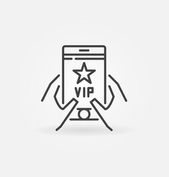 Vip smartphone in hands outline icon vector