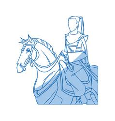 Warrior samurai japanese character riding horse vector