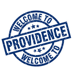 welcome to providence blue stamp vector image