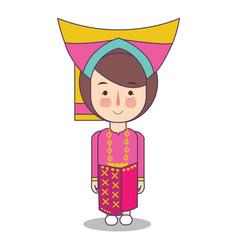 West sumatra padang province fashion cute girl vector