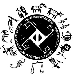 Western Primitive Zodiac vector