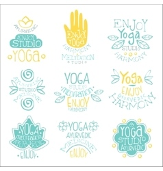 Yoga studio vintage stamp collection vector