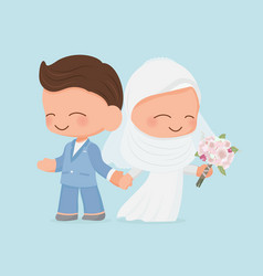 Young muslim wedding couple in blue suit wedding vector