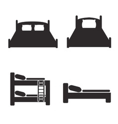 Bed icons set for hostels and hotels vector image