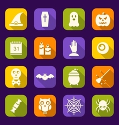 Halloween Flat Icons with Long Shadows vector image