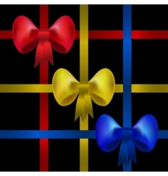 Set of red yellow and blue gift bows with ribbons vector