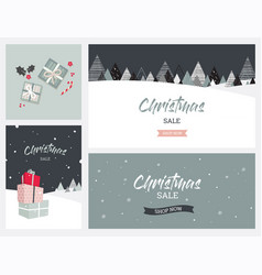 christmas winter landscape background christmas vector image vector image