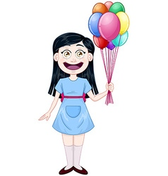 Girl Holding Colorful Balloons vector image